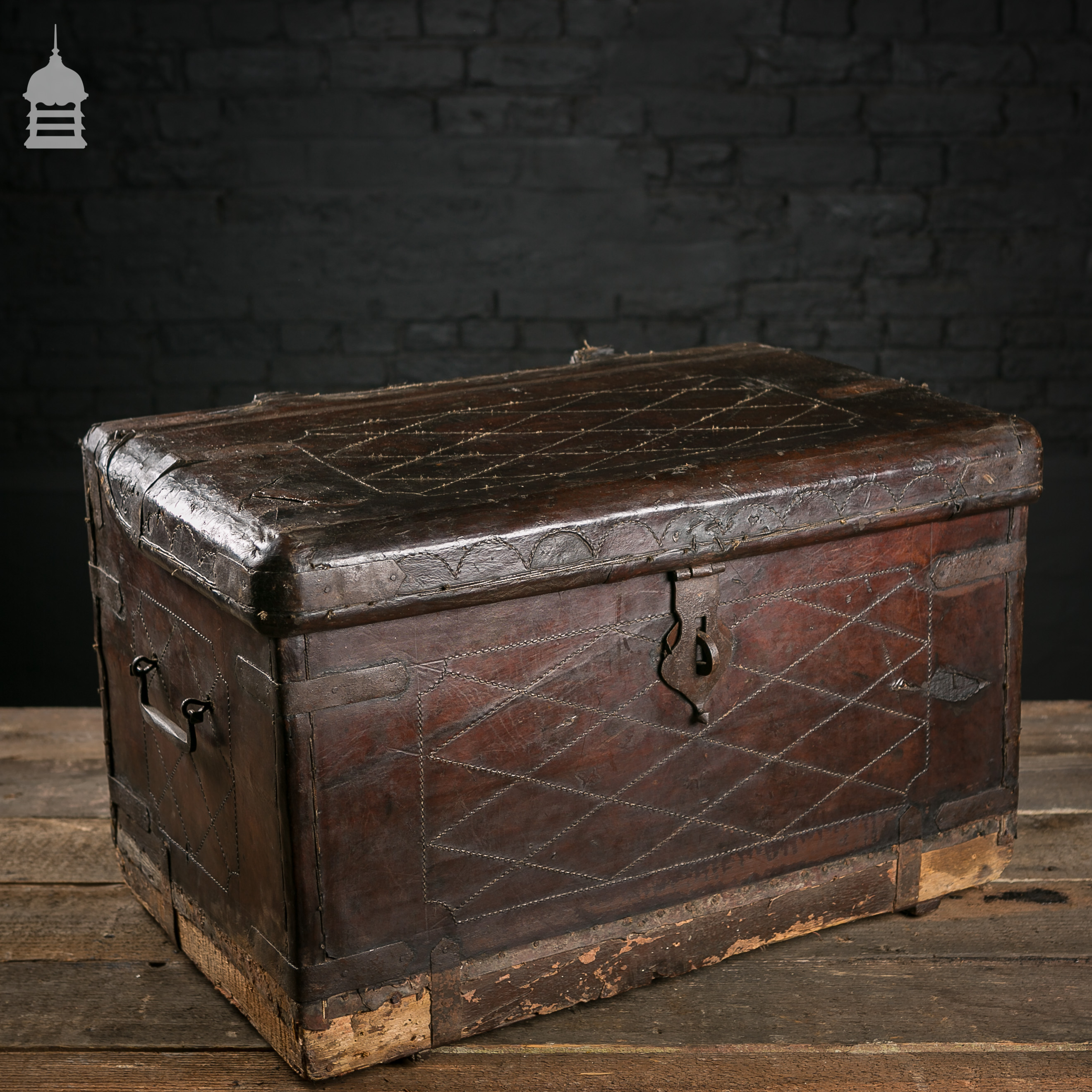 Beautiful Victorian Brown Leather Luggage Chest Trunk with Original Handles
