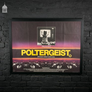 Original 'POLTERGEIST' Quad Movie Poster in Black Frame