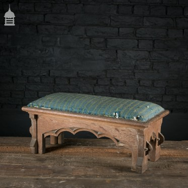 19th C Gothic Oak Upholstered Prayer Stool