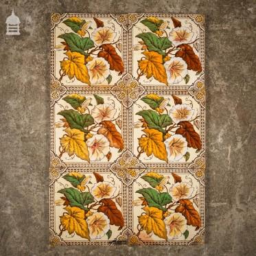 Set of 7 Decorative Floral 6 x 6 Tiles