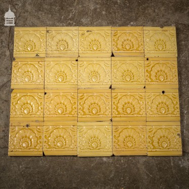 Batch of 22 Border 4 x 4 Tiles with Shell Design
