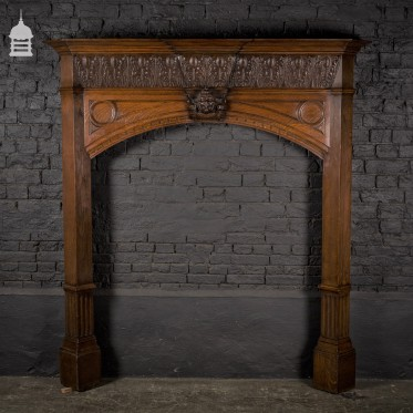 Victorian Carved Oak Fire Place Surround with Arched Opening