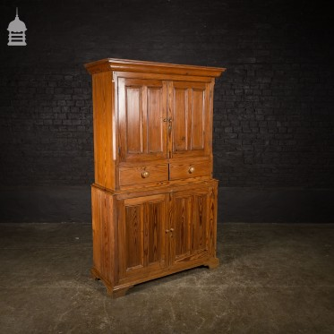 Edwardian Pine Two Part Wardrobe Cupboards with Drawers