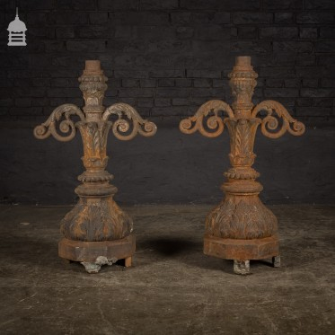 Pair of Elegant 19th C Cast Iron Pier Top Lamp Lantern Bases with Acanthus Leaf Detail