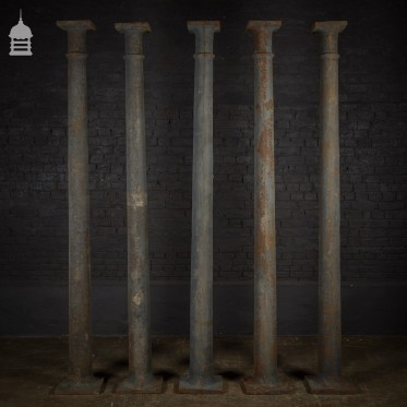 Set of 5 19th C Industrial Cast Iron Columns, Pillars, Stanchions