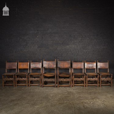 Set of 8 Turn of the Century Carved Oak Dining Chairs with Leather Seats