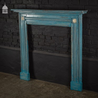 Georgian Pine Fireplace Surround with Distressed Blue Paint Finish