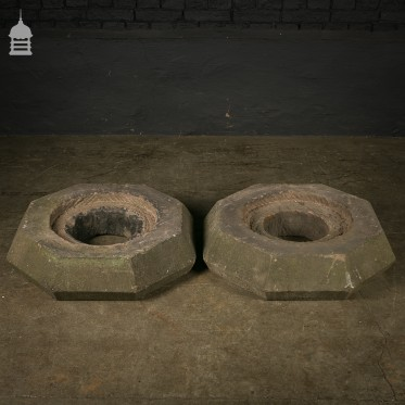 Pair of 19th C Octagonal Sandstone Plinth Bases
