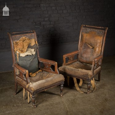 Pair of Victorian Carved Fruitwood Arm Chairs for Restoration