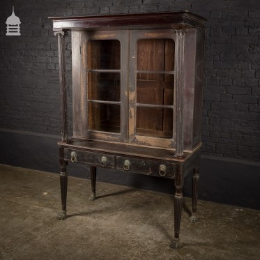 Stunning Glazed 19th C Neo-classical Ebonized Bookcase with Fluted Columns and Bronze Paw Feet