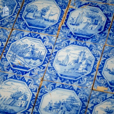Set of 14 Hand Painted Dutch Blue and White Tiles