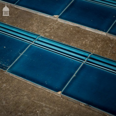Set of 10 Blue Border Skirting 6x6 Tiles