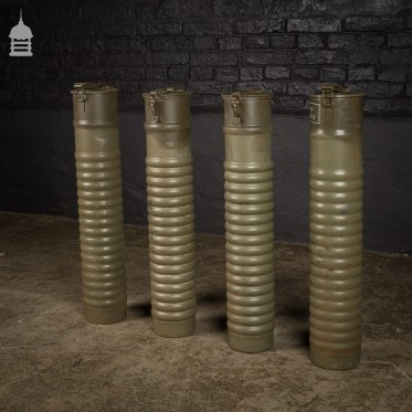 Set of 4 Pressed Steel Swedish Military Ammunition Canisters