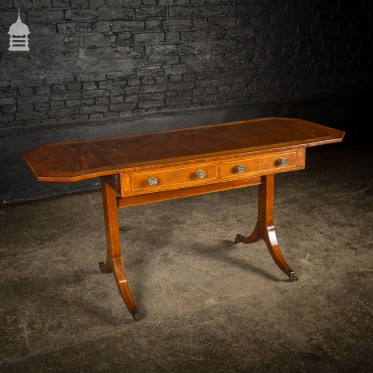 18th C Satinwood Folding Sofa Table with Inlaid Banding and Brass Castors