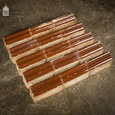 Set of 15 Brown Glazed Decorative Header Border Bricks