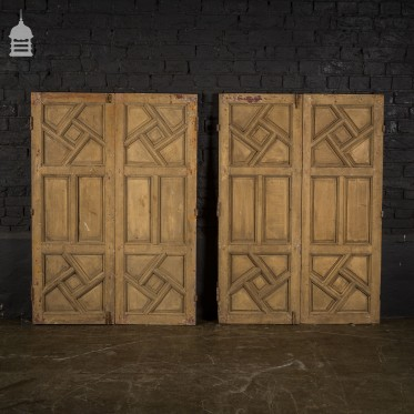 2 pairs of Reclaimed Pine Shutters with Geometric Design and Distressed Paint