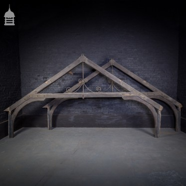 19th C Pair of Timber Trusses with Scrolled Wrought Iron Detail