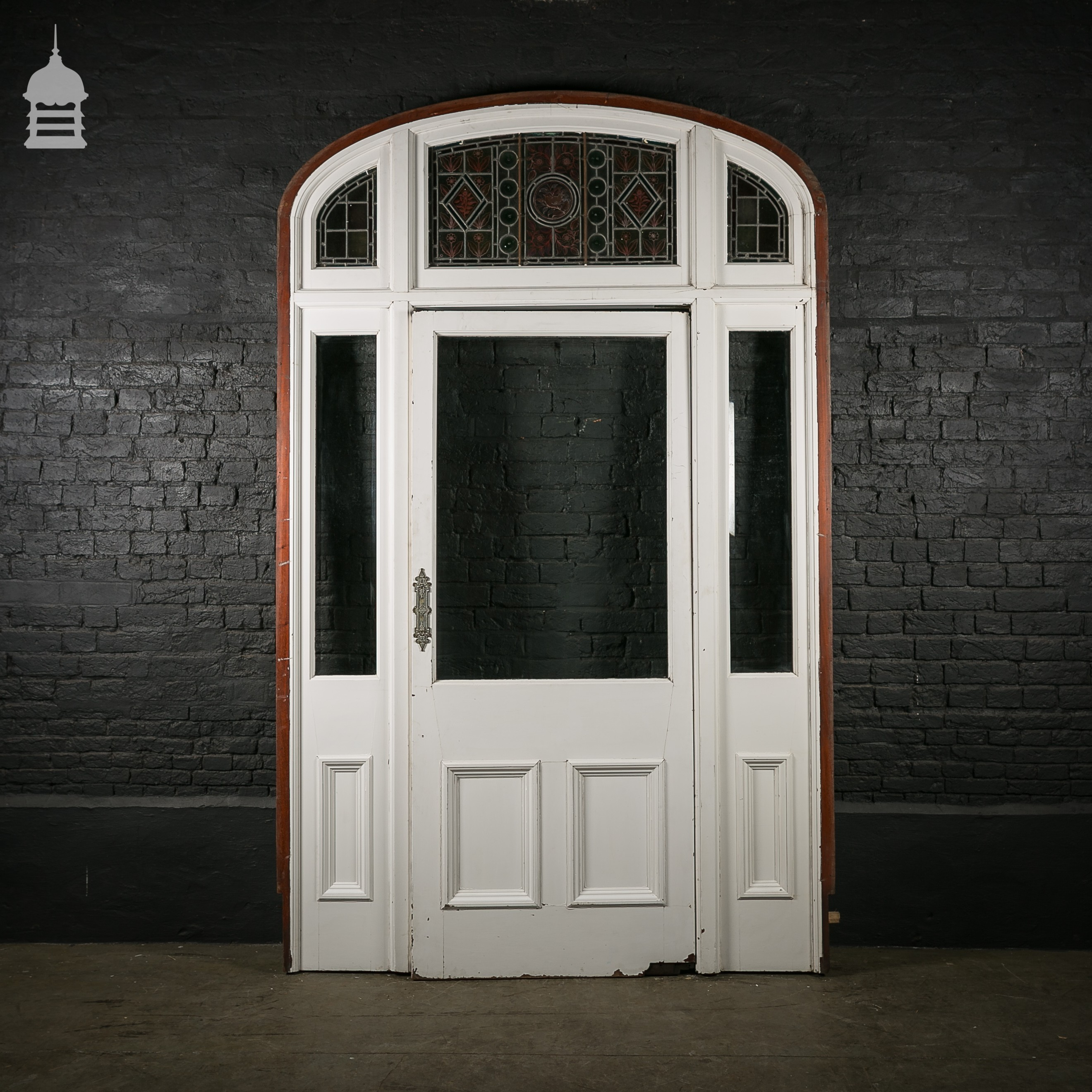 Large 19th c mahogany entranceway front door with stained for Oversized front door
