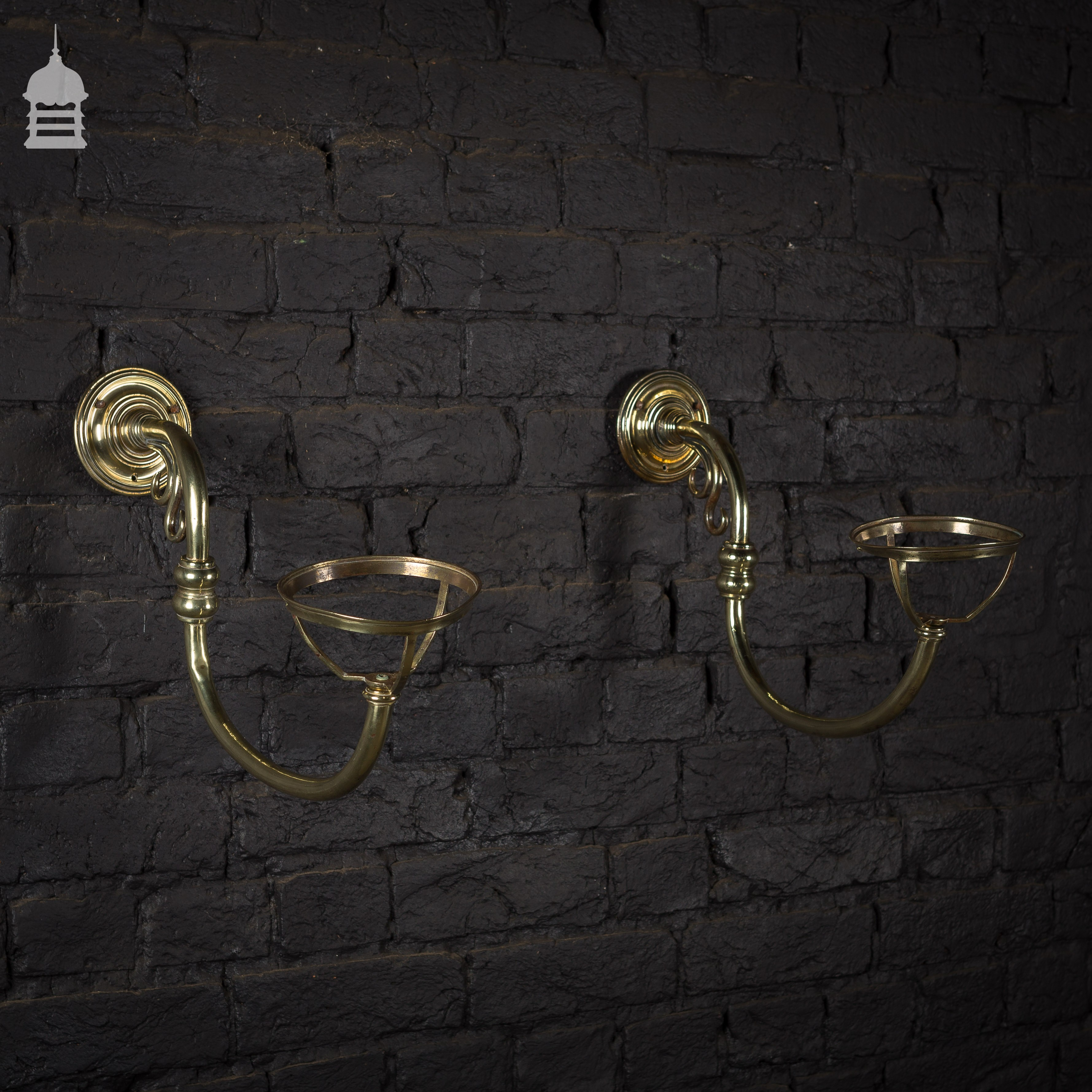 Pair of Brass Wall Mounted Gas Light Fittings