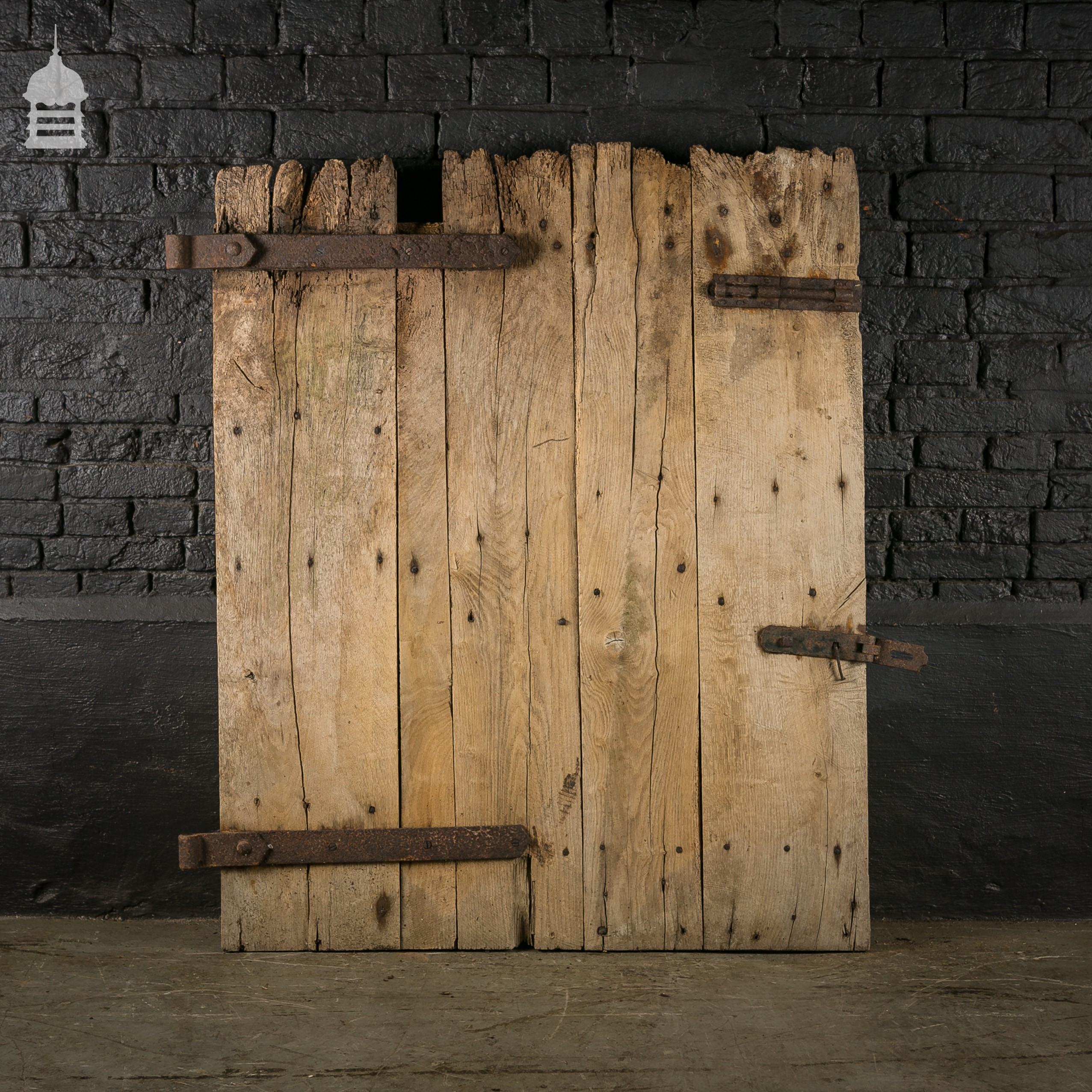 Reclaimed antique elm ledged barn door for Old wood doors salvaged