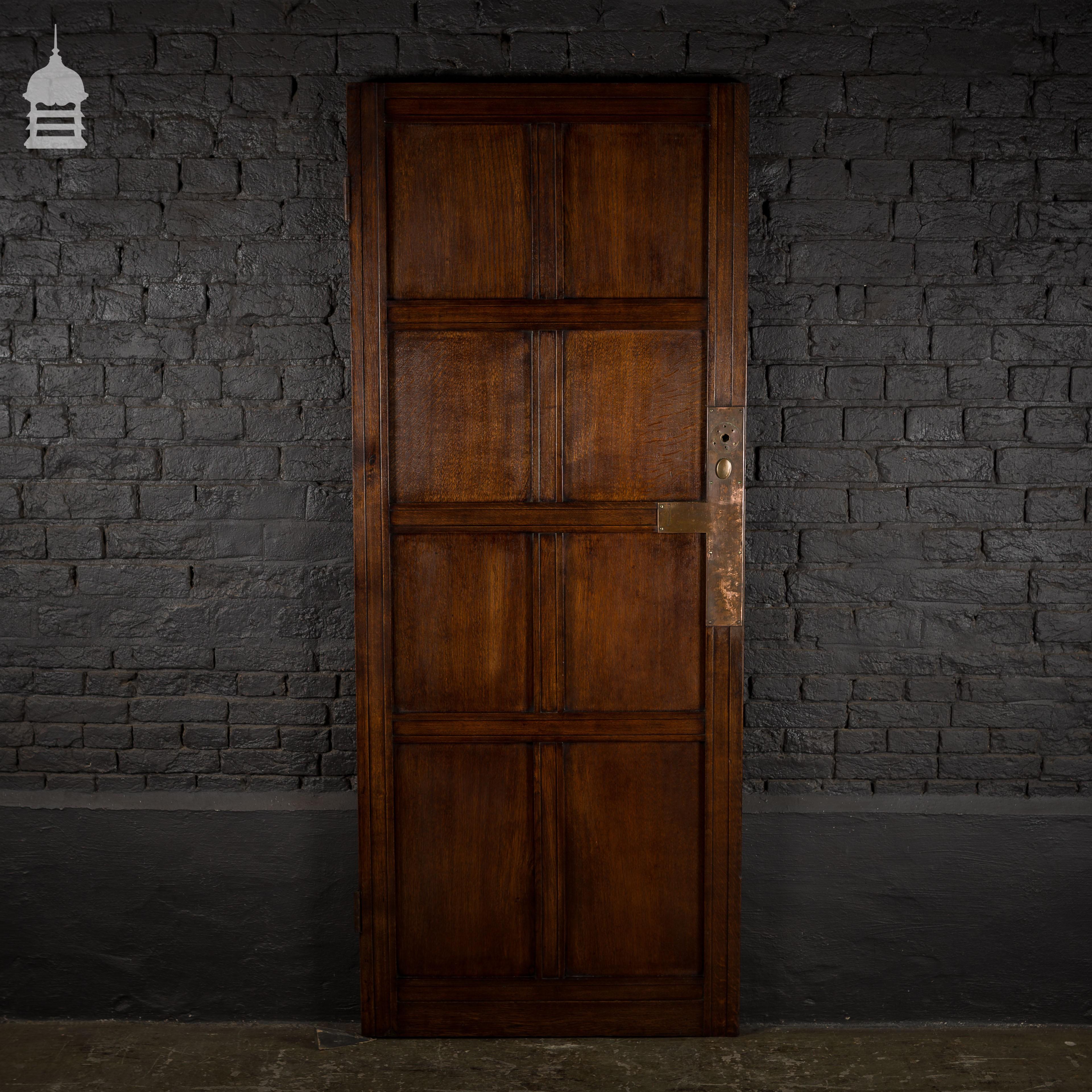 19th C Solid Oak 8 Panel Door With Original Brass Finger Plates