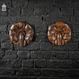 Pair of Early Oak Floral Petal Carvings