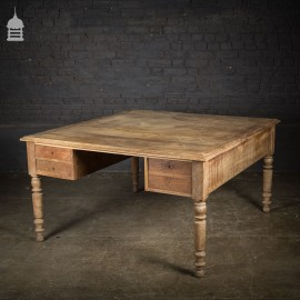 19th C French Bleached Oak Partners Desk Table with Key