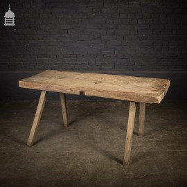 18th C Single Plank Elm Butchers Block Kitchen Scullery Table