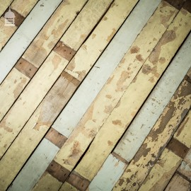Batch of 17 Square Metres of Reclaimed Pine Floorboards Wall Cladding with Distressed Paint Finish
