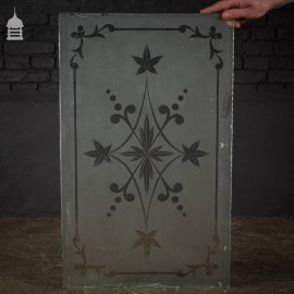 Original Etched Frosted Glass Panel with Leaf Design