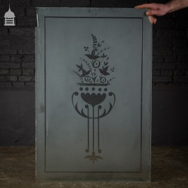 Original Etched Frosted Glass Panel with Floral Design