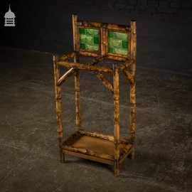 Victorian Bamboo Umbrella Stand with Original Green Tiles