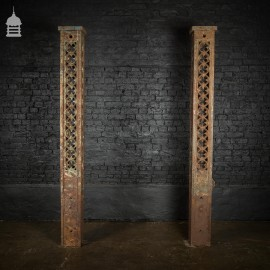 Pair of 19th C Gothic Cast Iron Driveway Gate Posts