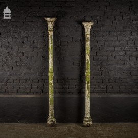 Two 19th C Cast Iron Columns Pillars Stanchions with Distressed Paint