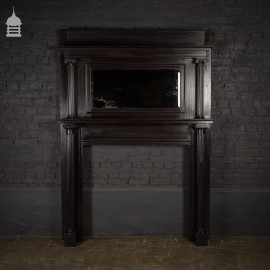 19th C Neo Classical Oak Fire Surround with Mirrored Overmantle and Fluted Corinthian Columns