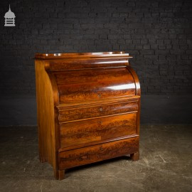 19th C Continental Flame Mahogany Bureau Secretaire with Inlaid Detail