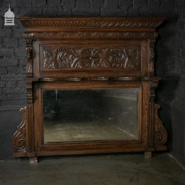 Ornate 19th C Carved Oak Overmantel with Lion's Head Detail