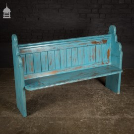 19th C 5ft Pine Pew with Distressed Blue Paint Finish