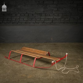 Red 20th C Steel Sledge with Pine Slats