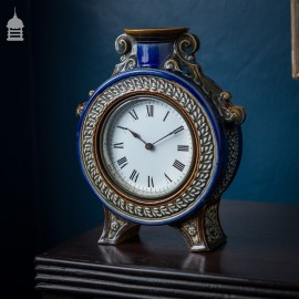 Rare 19th C Blue Glaze Doulton Lambeth Mantle Clock 1882