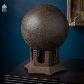 Vintage Bowling Ball and Cast Iron Display Base