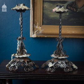 Pair Blacksmith made Wrought Iron Candlesticks with Scroll Design