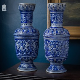 Pair of Antique Westerwald Blue & White Stoneware Vases