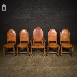 1930's Art Deco Carved Oak Set of 4 Dining Chairs and One Carver with Leather Upholstery