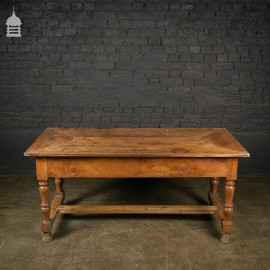 Early 18th C Walnut Farm House Kitchen Scullery Table with Moulded H-Stretcher