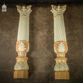 Pair of 19th C Fluted Columns with Corinthian Capitals and Acanthus Leaf Detail