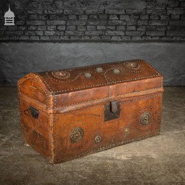 19th C Spanish Studded Leather Chest Trunk