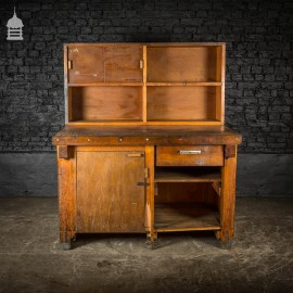 Mid Century Wooden Factory Workbench with Drawer and Cupboards