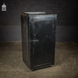 Mid Century Industrial Pine Workshop Cabinet Cupboard with Black Paint Finish
