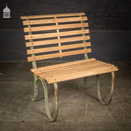 Wide 19th C Wrought Iron Garden Seat with Later Teak Slats